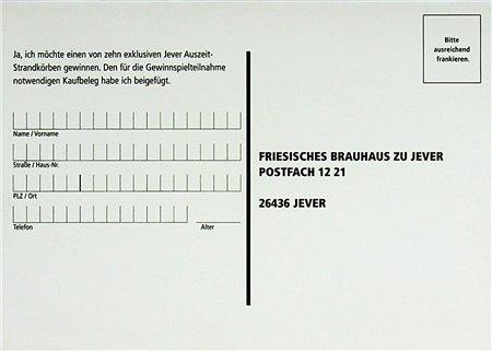 Teilnahmekarte (Jever Auszeit-Strandkörbe)