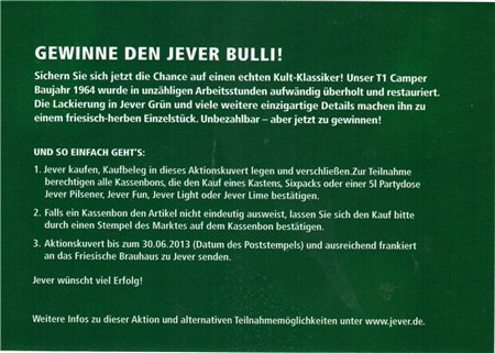 Teilnahmekarte (Jever Bulli)