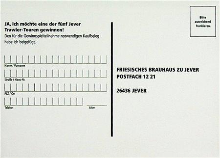 Teilnahmekarte (Jever Trawler-Touren)